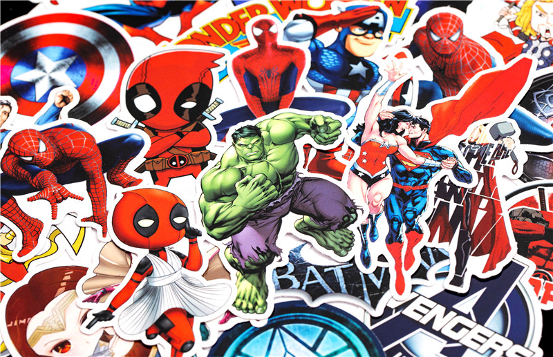 Super Hero Stickers Funny JDM Kids Toy Sticker for DIY Luggage Laptop Skateboard Motorcycle Car Phone Bedroom Sticke (4)
