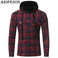 AIOPESON 2018 New Spring Fashion Mens Hoodies Casual Plaid Hooded Long Sleeve Sweatshirts Brand Gothic Hoodies