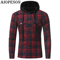 AIOPESON 2018 New Spring Fashion Mens Hoodies Casual Plaid Hooded Long Sleeve Sweatshirts Brand Gothic Hoodies