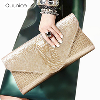 Outnice Brand 2017 New Gold Luxury Clutch Genuine Leather Crocodile Pattern Purse Women Bags Chain Shoulder