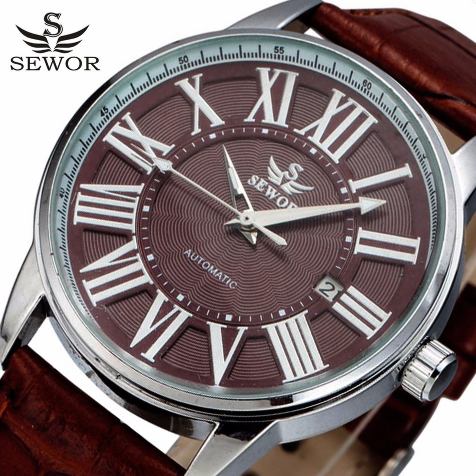Automatic Mechanical Watch Men SEWOR Top Brand Designer Coffee Wristwatches Male Leather Strap Clock Relogio Masculino Relojes