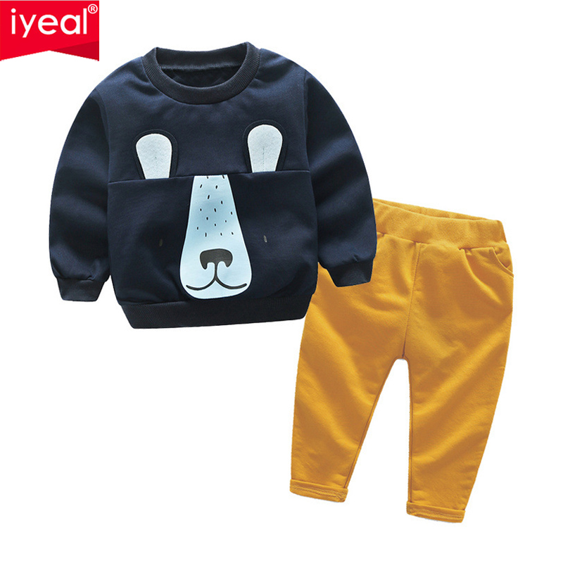 IYEAL New Fashion Baby Boy Cute Clothing 2pc Pullover Sweatshirt Top + Pant Children Boys Clothes Set Kids Outfit Suits for 2-6Y 2015 new arrive super league christmas outfit pajamas for boys kids children suit st 004