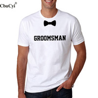 Groomsman Bow Tie T Shirt Funny Wedding Party Best Men T Shirt Cotton Black White Tee