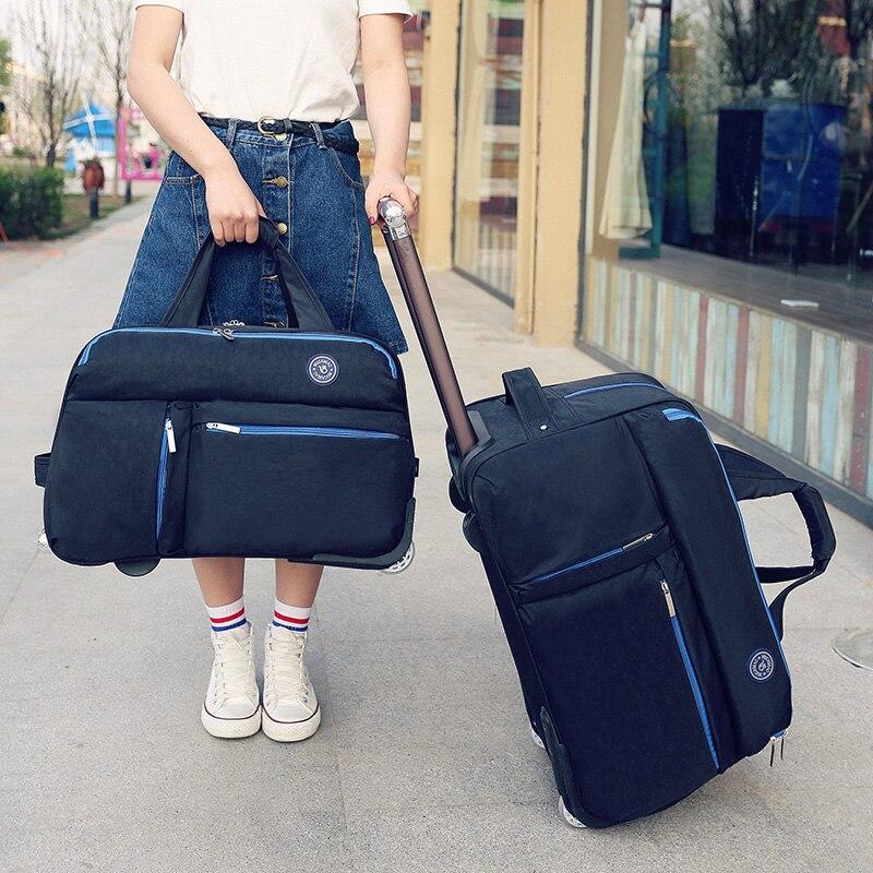 Sac de voyage multifonction, bagage à main, boîtier de chariot en Nylon, boîte d'embarquement de voyage, fourre-tout de grande capacité, valise à roues à sens unique