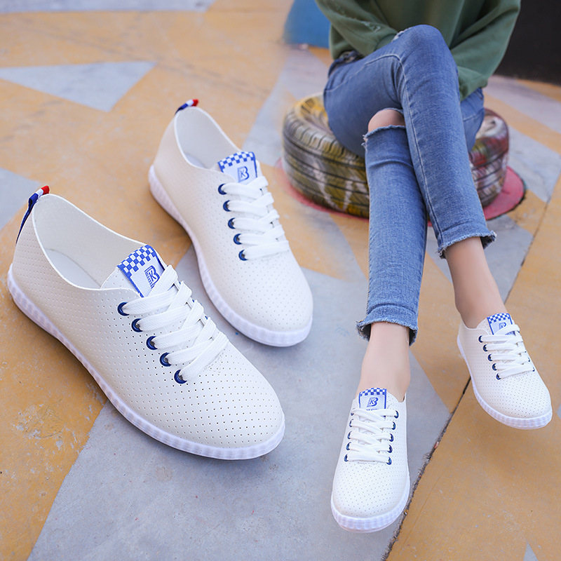PU Leather Hollow Breathable Women Flats Comfort Non Slip Outside Working Shoes 2018 New Fashion Lady Summer Leisure White Shoes summer breathable hollow casual shoes women slip on platform flats shoes fashion revit height increasing women shoes h498 35