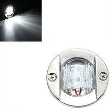 12V Marine Boat LED Stern Light Transom Stainless Steel White Round Tail Light Waterproof