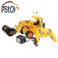 Mühendislik 5CH Kablosuz Kumanda kamyon Simülasyon Yol Silindiri 4 tekerlekli Steamroller Kamyon Silindir Elektronik oyuncaklar