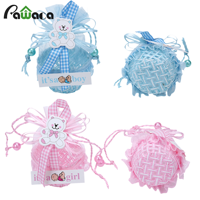 12Pcs DIY Bear Pattern cute duck Birthday Baby Shower Party Favors Basket Candy Box with Ribbons Christening Boy Girl Gift Boxes