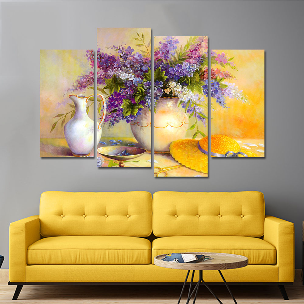 Drop shipping Frameless Modular Picture Flower Painting Print on ...