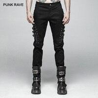 Панк рейв мужские панк Рок индивидуальность длинные штаны модные повседневные мужские готические штаны с заклепками уличная Мужская хлопч