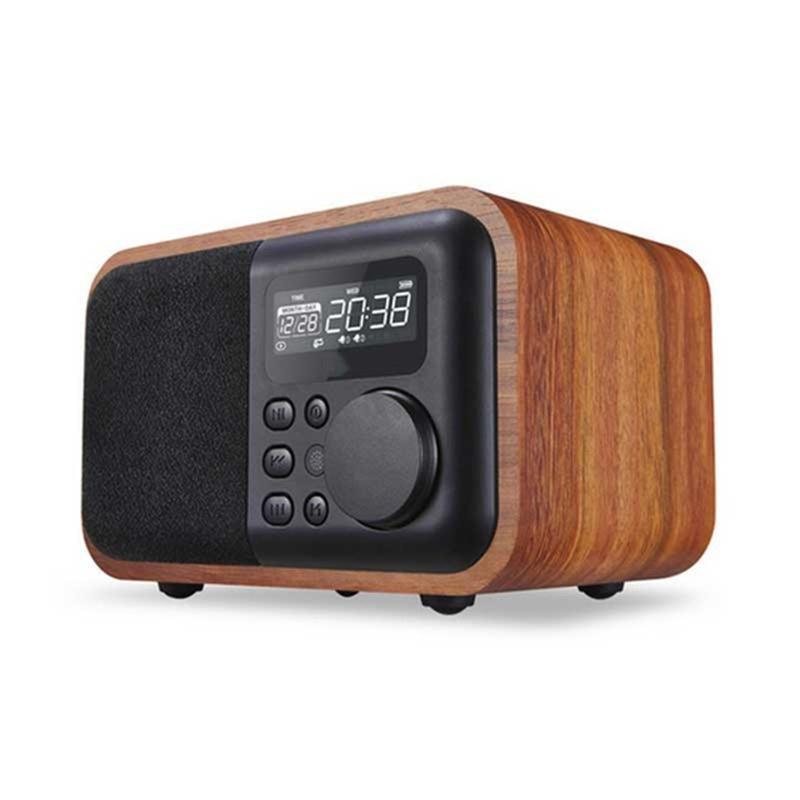 Haut-parleur Bluetooth en bois télécommandé avec Radio FM réveil affichage du temps Support USB TF carte jouer en bois haut-parleur Subwoofe