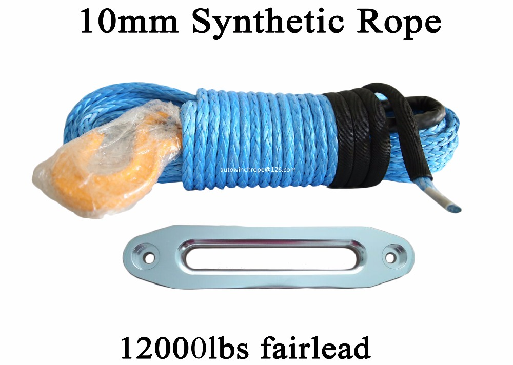 Blue 10mm*30m Synthetic Winch Rope & 10 ATV Hawse Fairlead,Plasma Winch Cable for Offroad,UHMWPE Rope