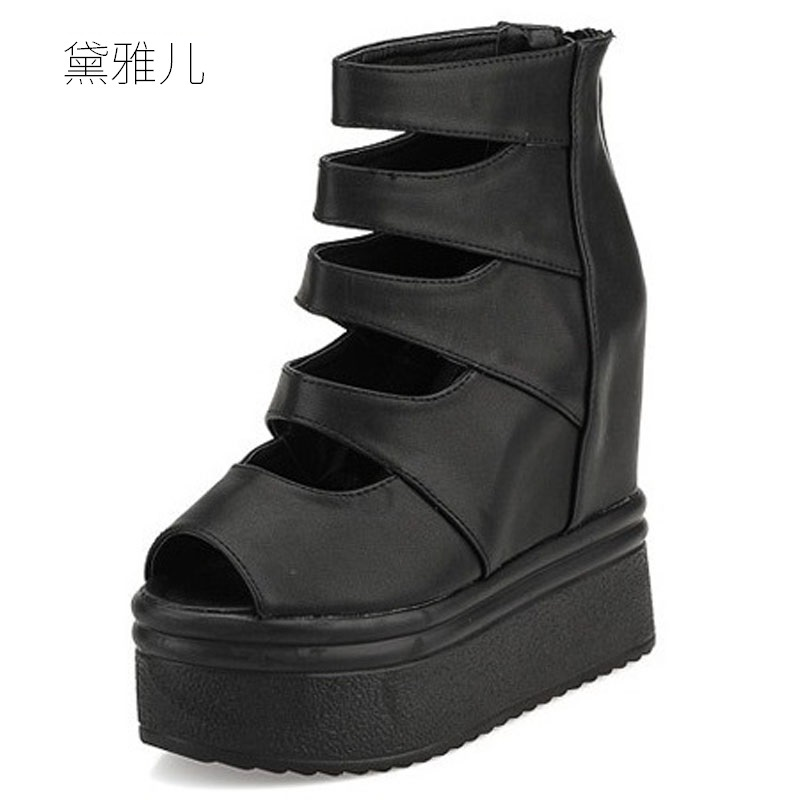 2018 Summer Style 13.5cm Black Sexy Wedges Ultra High Platform Heels Sandals for Women's with Shoes Woman Wedding Dress Ladies phyanic 2017 gladiator sandals gold silver shoes woman summer platform wedges glitters creepers casual women shoes phy3323