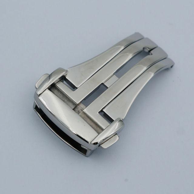 MAIKES Botão Fivela Relógio De Prata Em Aço Inoxidável Polido Implantação Assista Band Strap Fecho Dobrável Caso Para