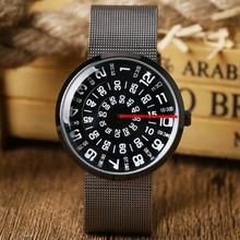 De alta calidad de la manera paidu marca negro blanco lío numérica de la placa giratoria dial hombres mujeres reloj de pulsera de cuarzo banda de acero inoxidable regalo