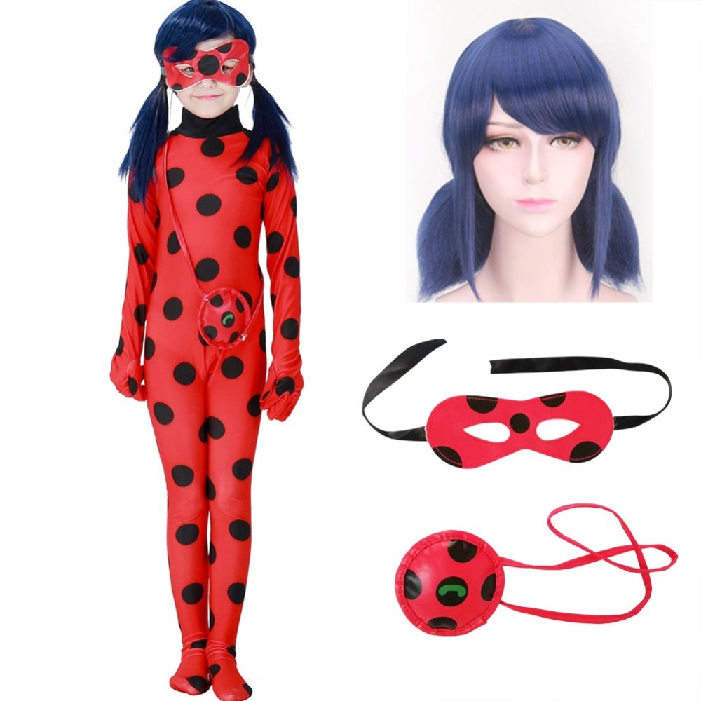 Fantasia Kids Adult Lady Bug Girls Women Child Spandex Ladybug Costume Jumpsuit Fancy