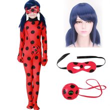 Fantaisie enfants adulte dame Bug Costumes filles femmes enfant Spandex coccinelle Costume combinaison fantaisie Halloween Cosplay Marinette perruque(China)