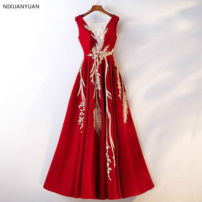 Robe De soirée Longue élégante dentelle rouge Robe De bal Longue pas cher Appliques Satin robes De soirée Vestido De Festa