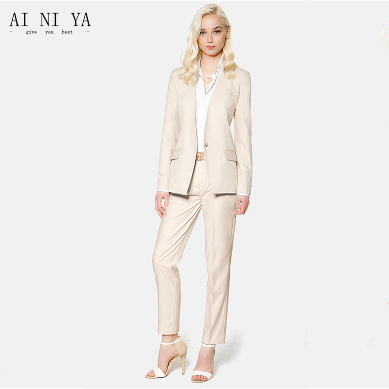 Fashionable ladies suit new Beige Elegant Pant Suits for Women Business Suits Female Trouser Suits CUSTOM MADE tahari women s woven dress pant 4p taupe beige