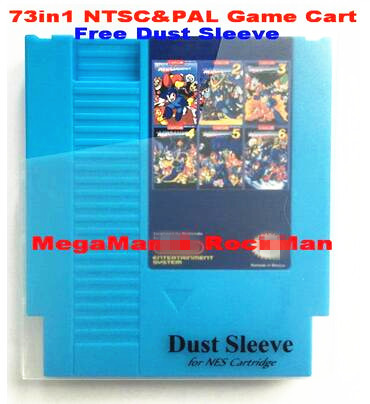 Gratis 73in1-NTSC & PAL-spelkassett för MegaMan1-6 och RockMan1-6, 72 stift för NES Game Cartridge Replacement Shell