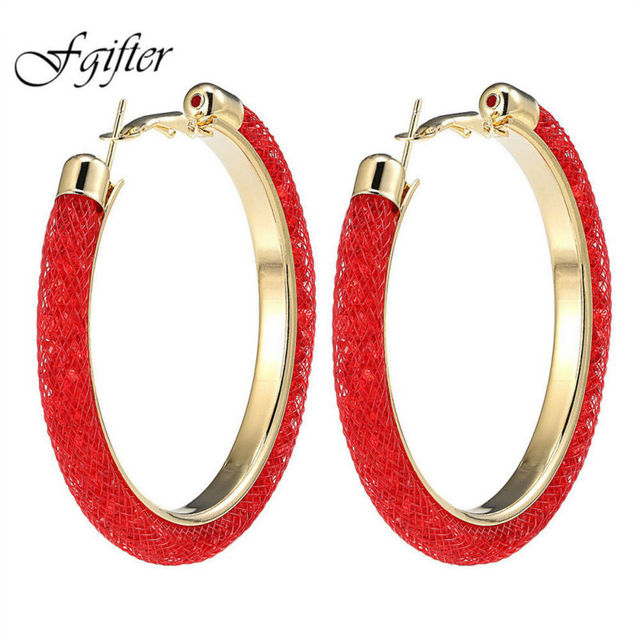 154e1aeb8 60mm Big Round Women Earrings Gold Color Hoop Earring with Full Crystal Mesh  Brincos Grandes