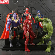 Hasbro Avengers 6pcs/set Iron Man Captain America Hulk Spider-Man Doll Model toys