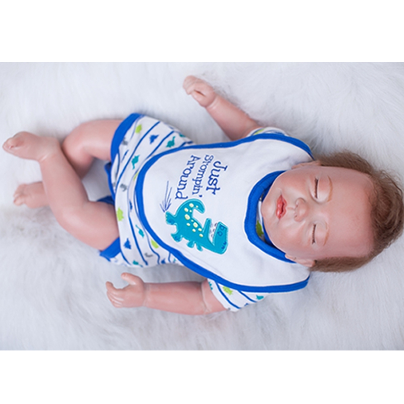 Lifelike Newborn Baby Boy 20 Inch Sleeping Reborn Dolls Alive Babies Cloth Body Doll Toy With Rooted Mohair Kids Birthday Gift