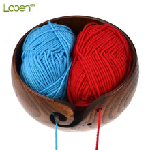 New Empty Wooden Yarn Bowl Holder Knitting With Holes Storage Crochet Accessories Wool For Crocheting