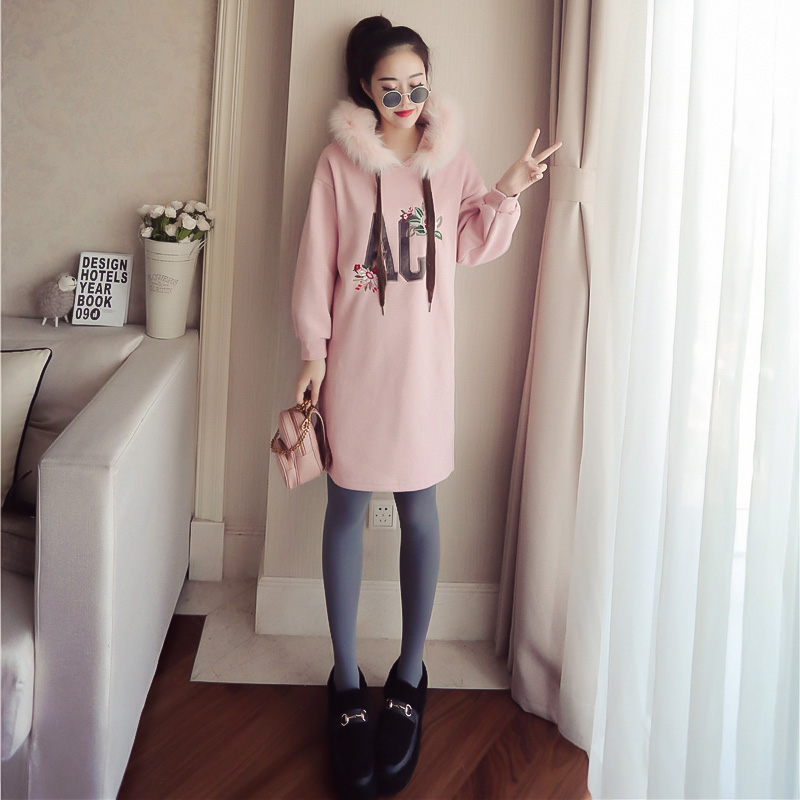 Maternity clothes during winter new han edition hooded collars long loose hair who dresses letters embroidery han edition of the new bankcard yarn rope ribbon hair with hair hoop hair tire wholesale