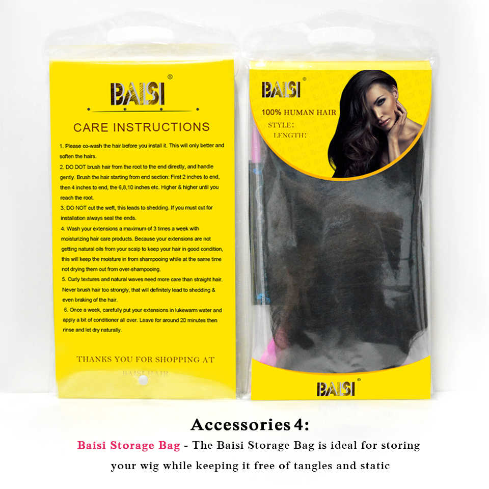 BAISI Hair Brazilian Natural Wave 130% Density Full Lace Wigs Human Hair Wigs with Transparent Lace Natural HairLine