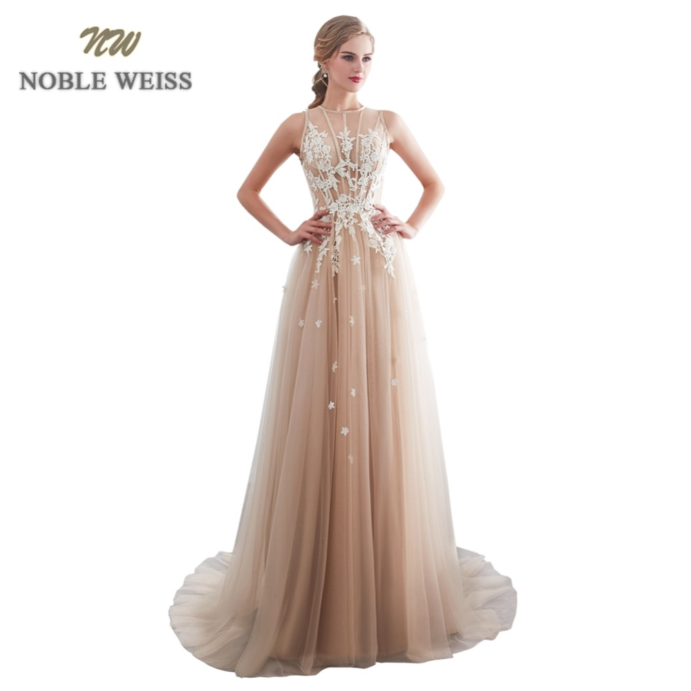 NOBLE WEISS A Line Prom Dresses Real Photo Appliques Formal Tulle Champagne Prom Gown Prom Dresses