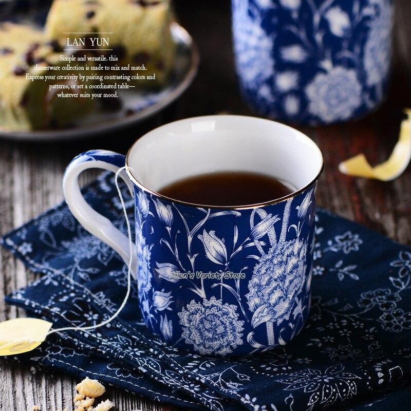 Pastoral Blue and white china Teacup Golden Ceramic Mug Porcelain Gilded Mug Coffee Mug Milk Cup gilding Cup gold-plating Mug
