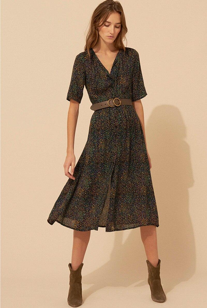 Femmes manches courtes imprimé longue robe 2019 nouveau col en V avant boutons élégant robe mi-longue