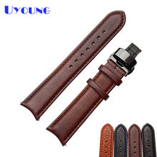 Black Brown Leather Watchband 20mm senior watch strap Quality Leather Mens Watch accessories wristwatches band(China)