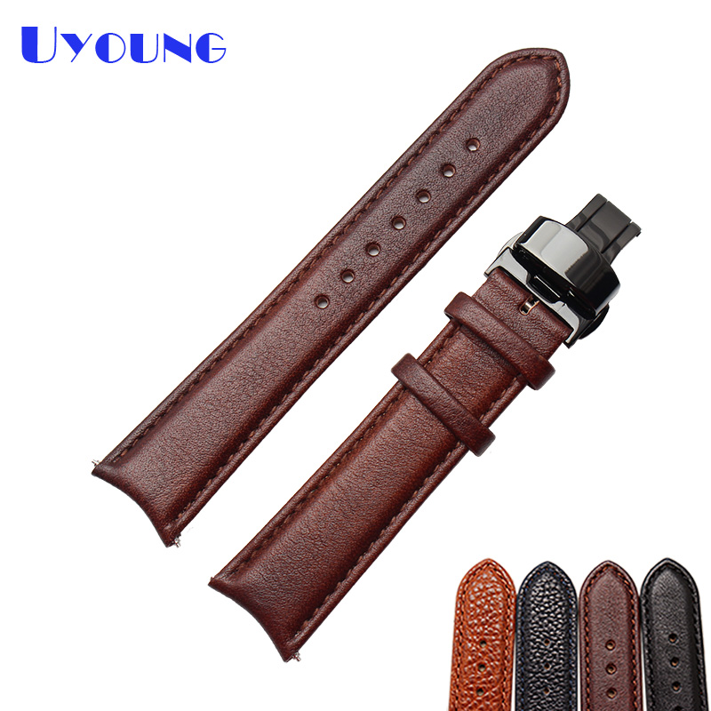 Black Brown Leather Watchband 20mm senior watch strap Quality Leather Mens Watch accessories wristwatches band