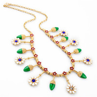 Valentine S Day Gift Fashion Gold Chain White Flower Green Leaves Enamel Collar Necklace For Women