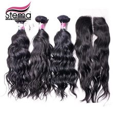 Free Shipping Natural Wave Brazilian Virgin Hair with Closure  3 pcs Hair Weft with 1pc Closure with Baby Hair Best Quality