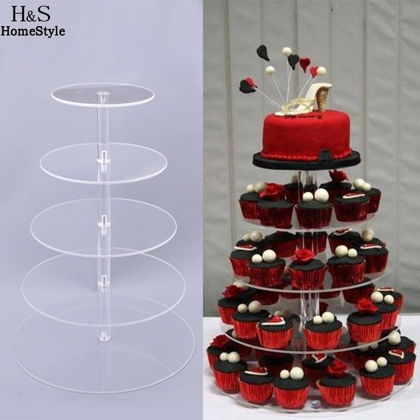 Homdox 5 Tier Cake Stand Crystal Clear Circle Acrylic Cupcake Plate Tools for Wedding Party Cake Display Christmas Baking N30A