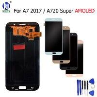 Кеды для Samsung Galaxy A7 2017 A720 a720f a720m a720y AMOLED 100% ЖК дисплей Дисплей с Сенсорный экран планшета Ассамблеи Замена