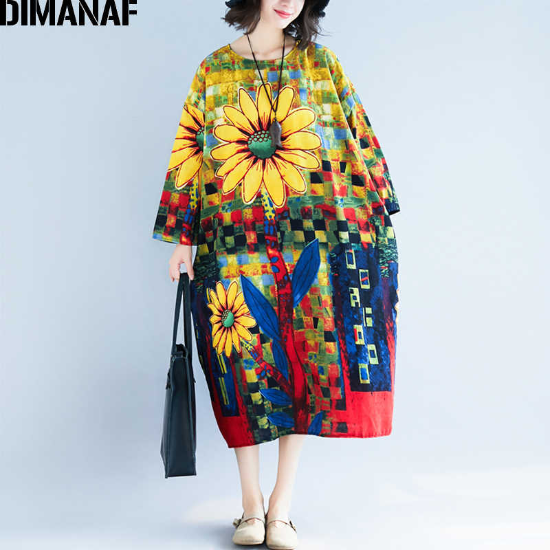 DIMANAF 女性の秋ドレスビッグサイズリネンプリント花女性服女性エレガント Vestidos ルースヴィンテージロングドレス 2018