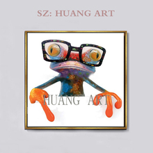 Hot Selling Modern Abstract Decorative Animal Frog Painting New Styles Oils The Funny Glasses