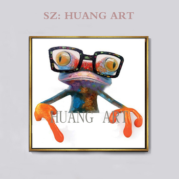Hot Selling Modern Abstract Decorative Animal Frog Painting New Styles Oils The Funny Glasses Frog Painting