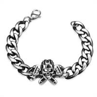 Nieuwe Mode Oude Zilveren Kleur Ketting Armband Mannen Skull Cross snake Charms Armbanden Armbanden Rvs Punk Rock Sieraden