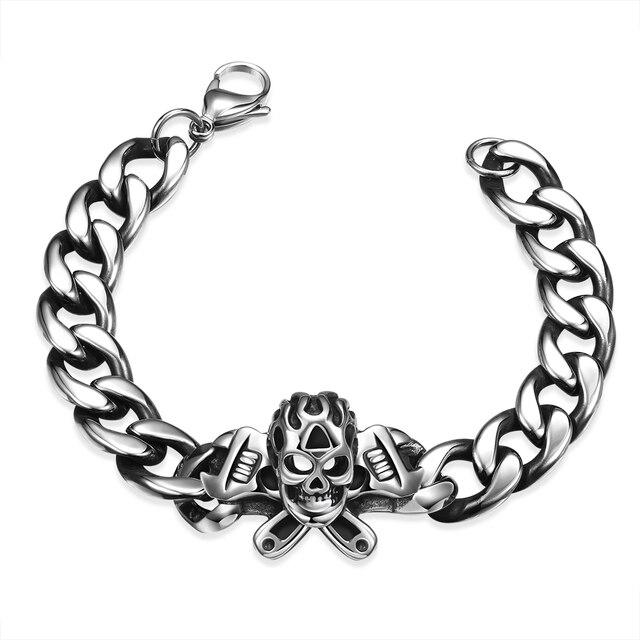 42303d95fece Nueva Moda de Plata Antigua de Color Pulsera de Cadena de Los Hombres  Cráneo Cruz serpiente