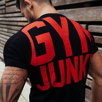 Mens Summer Gyms T Shirt Fitness Bodybuilding Crossfit Cotton Shirts Short Sleeve Workout Male Fashion Casual
