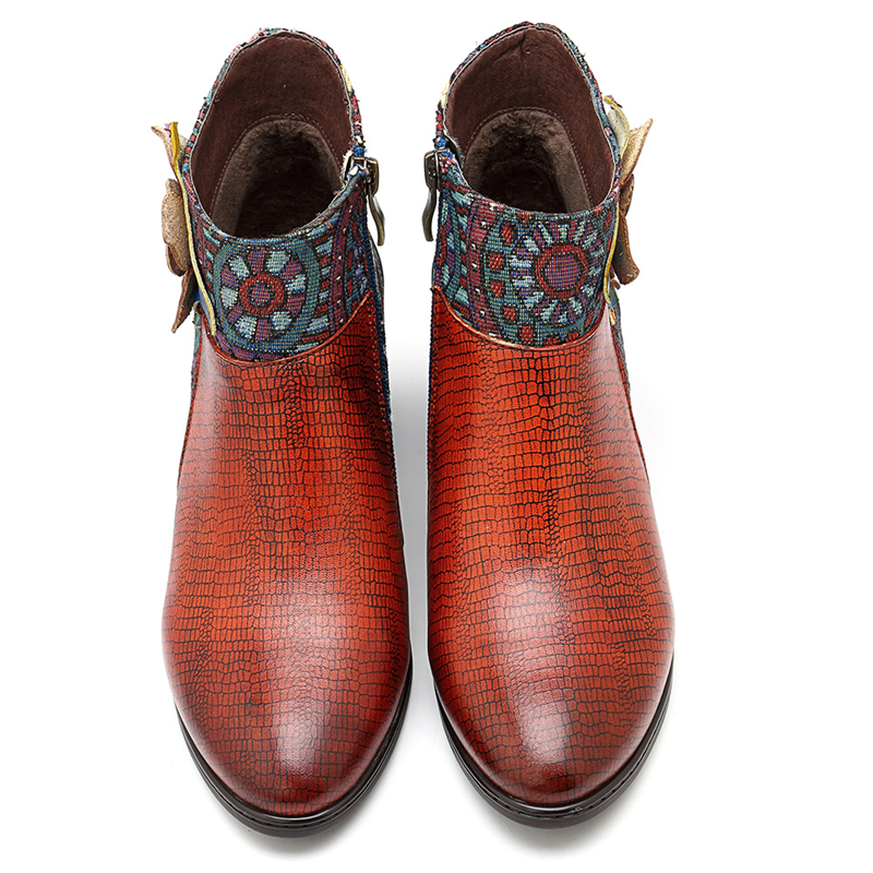 Socofy 本物の革スプライシングカウガール女性ブーツジッパー手作り花女性のための靴女性指摘 Bota Ş  グループ上の 靴 からの アンクルブーツ の中 2