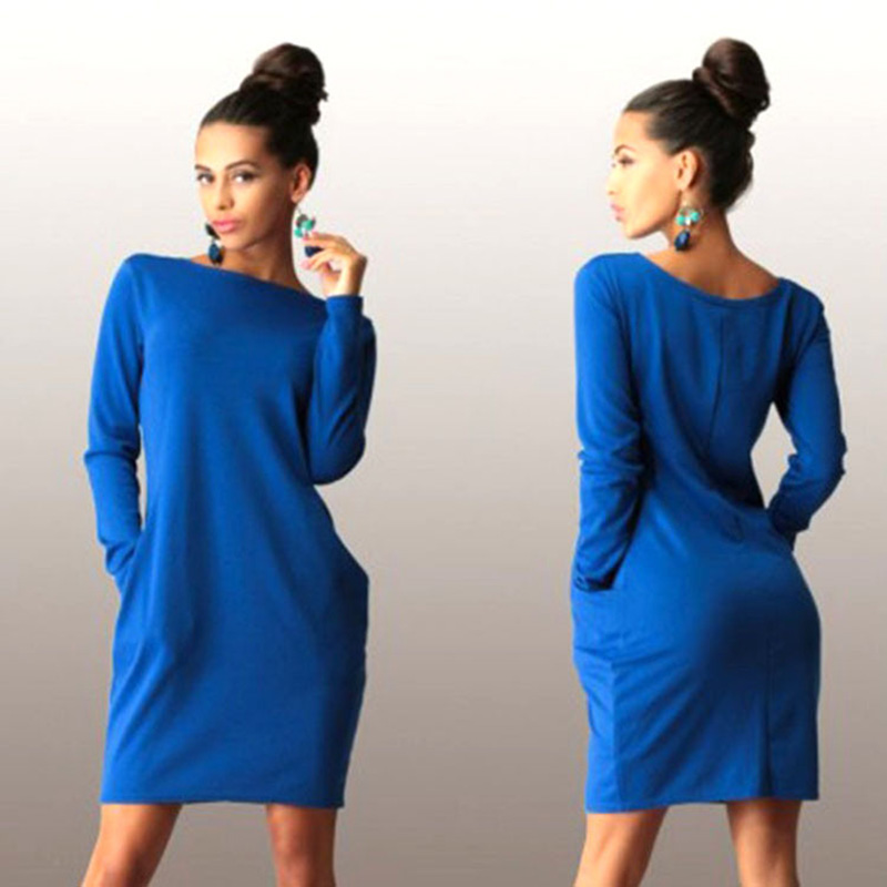 New Solid Pockets Casual Loose Autumn Dress Women's O-neck Long Sleeve Mini Bodycon Dresses Vestidos