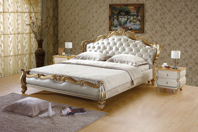 luxury gold diamond tufted leather sleeping bed contemporary ...