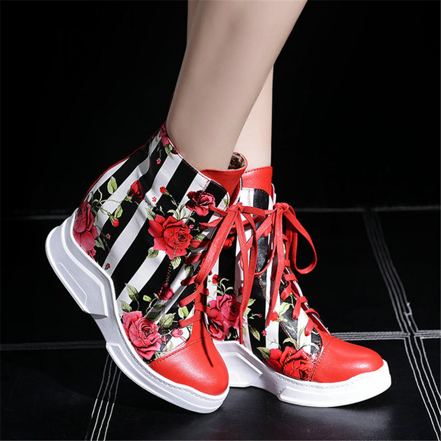 NAYIDUYUN   New Women High Top Wedges Fashion Party Pumps Round Toe High Heels Ankle Boots Casual Punk Platform Sneaker Oxfords stylish red leaves pattern round shape flax pillowcase without pillow inner