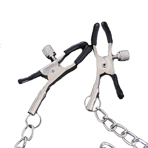 No Dildo Vibrator Style Stainless Steel Metal Chain Nipple Clip Nipple Clamps Sexy Pussy Erotic Adult Toys Accessories Sex Shop(China)